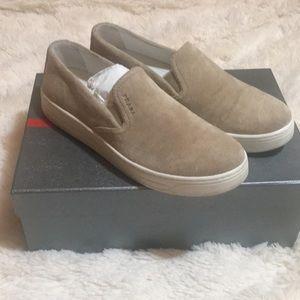 NWB Prada Tan Suede Linda Rossa Slip On Sneakers